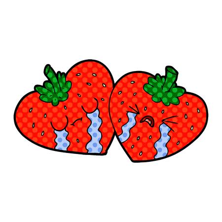 cartoon strawberries crying Stock Illustratie
