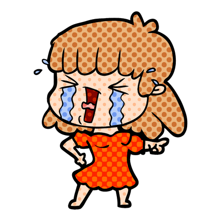 cartoon woman crying and yelling
