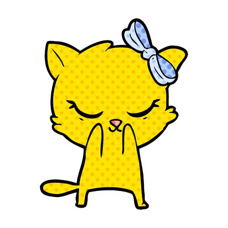 cute cartoon cat with bow Illustration
