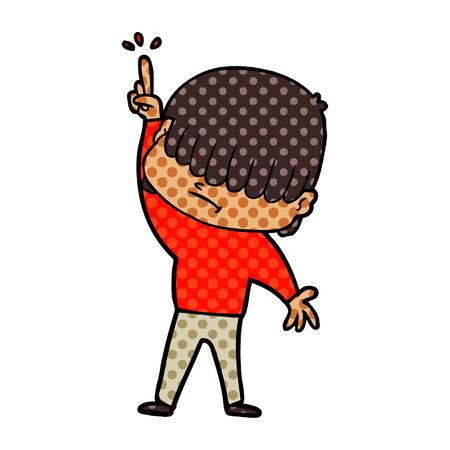 Cartoon boy with untidy hair vector illustration