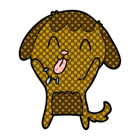 cute cartoon brown polka dots dog 일러스트
