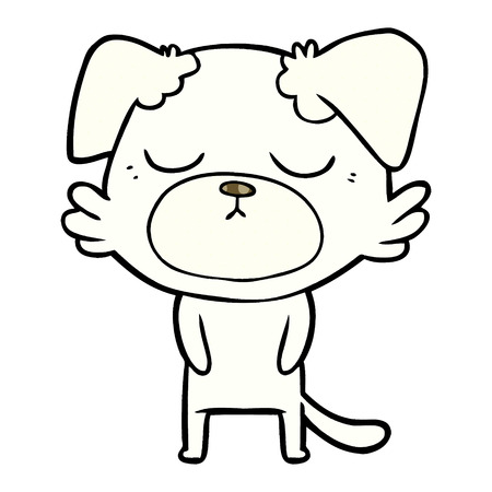 cute cartoon white dog  with closed eyes