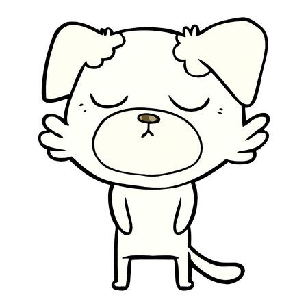 cute cartoon white dog  with closed eyes