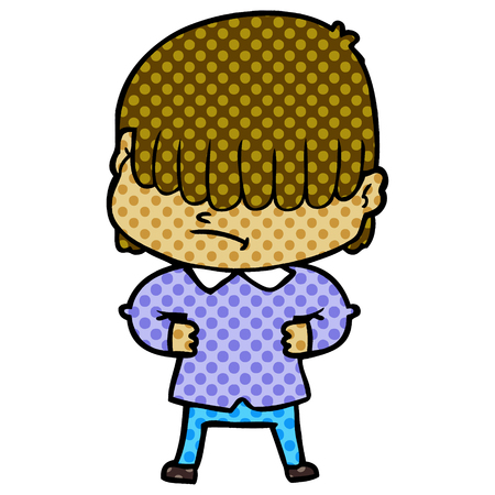 Hand drawn cartoon boy with untidy hair