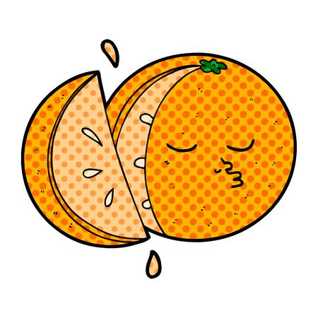 cartoon orange fruit character Stock Illustratie