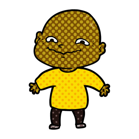 cartoon nervous man wearing yellow shirt