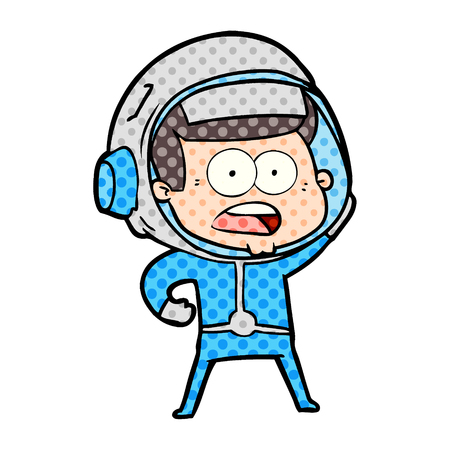 Cartoon surprised astronaut isolated on white background