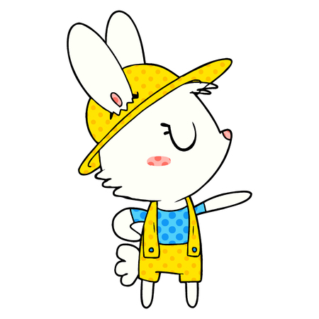 Cartoon rabbit construction worker Illustration