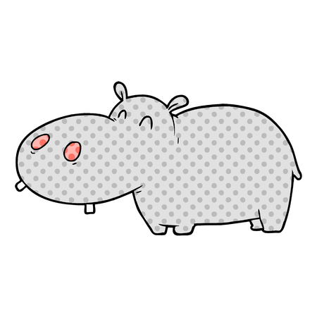 Hand drawn cartoon hippo