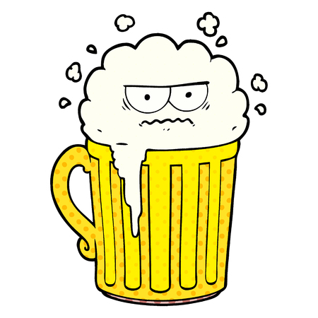 Hand drawn cartoon mug of beer