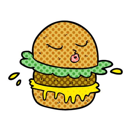 Hand drawn cartoon fast food burger