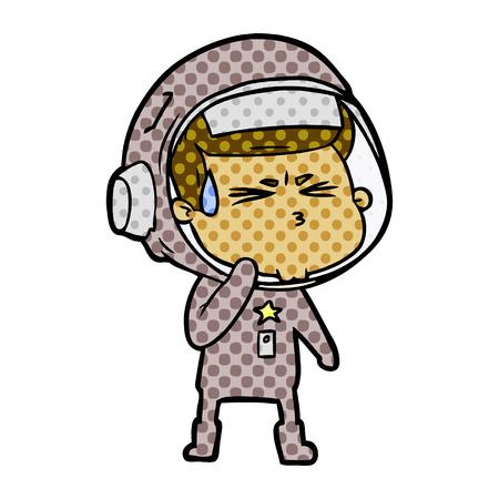Cartoon stressed astronaut isolated on white background