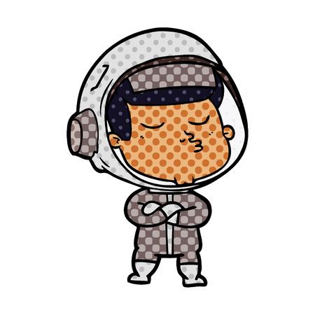 Cartoon confident astronaut isolated on white background