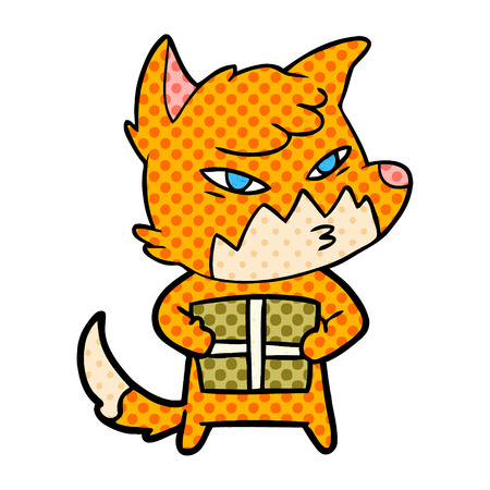 Hand drawn clever cartoon fox