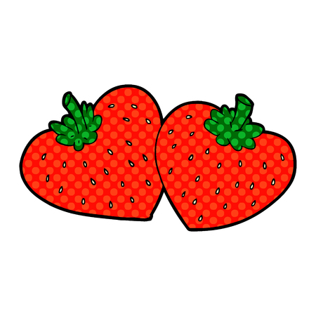 Cartoon strawberries isolated on white background Иллюстрация