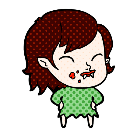 Cartoon vampire girl with blood on cheek Banco de Imagens - 95406398