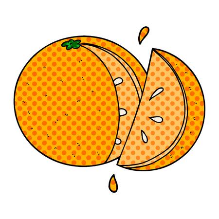Hand drawn cartoon orange slice Stock Illustratie