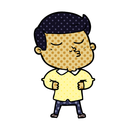 Hand drawn cartoon model guy pouting