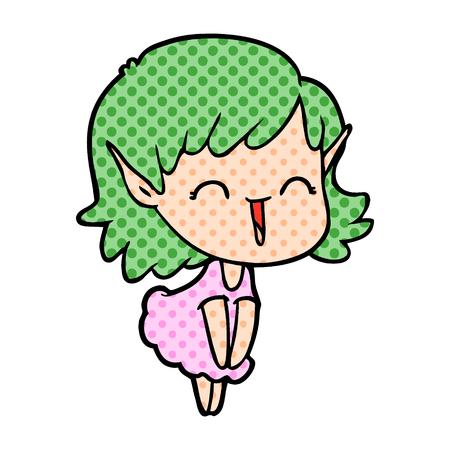 Hand drawn cartoon elf girl