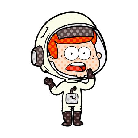 Hand drawn cartoon surprised astronaut