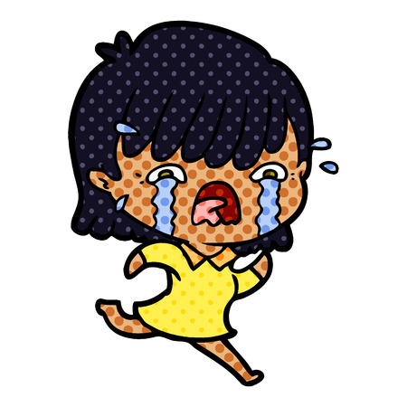 Hand drawn cartoon girl crying Illustration