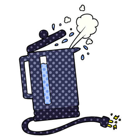 Hand drawn cartoon electric kettle boiling