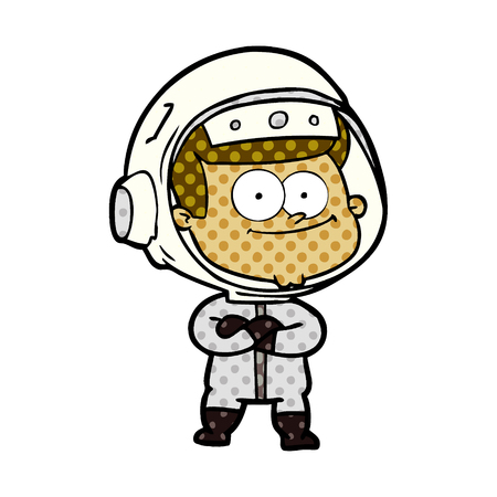 Happy astronaut cartoon isolated on white background