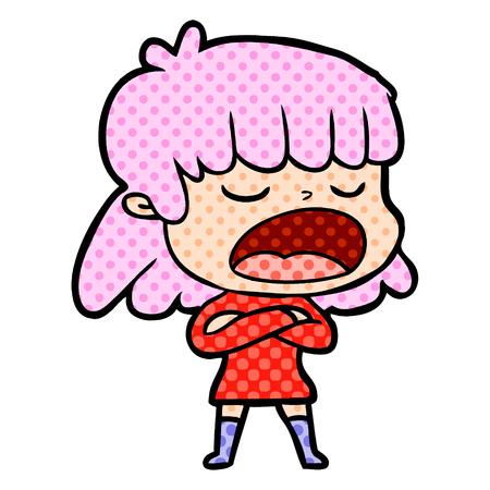 Mujer de dibujos animados dibujados a mano hablando en voz alta Foto de archivo - 95548304