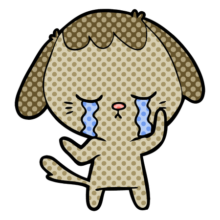 Hand drawn cute puppy crying cartoon