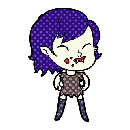Hand drawn cartoon vampire girl with blood on cheek