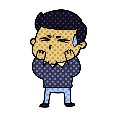 Cartoon man sweating isolated on white background