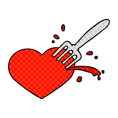Cartoon love heart stuck with fork isolated on white background