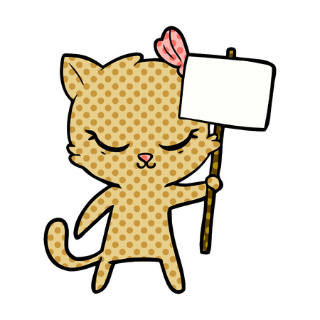 Hand drawn cute cartoon cat with sign