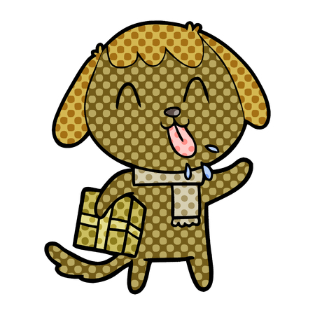 Hand drawn cute cartoon dog with Christmas present Illustration