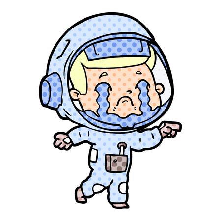 Hand drawn cartoon crying astronaut Stock Illustratie