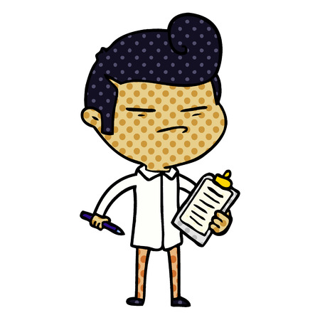 Hand drawn cartoon cool guy with fashion hair cut and clip board