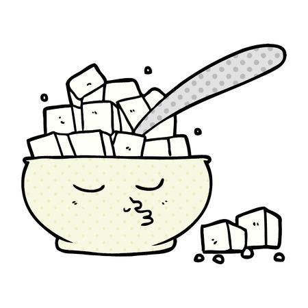 Hand drawn cartoon sugar bowl