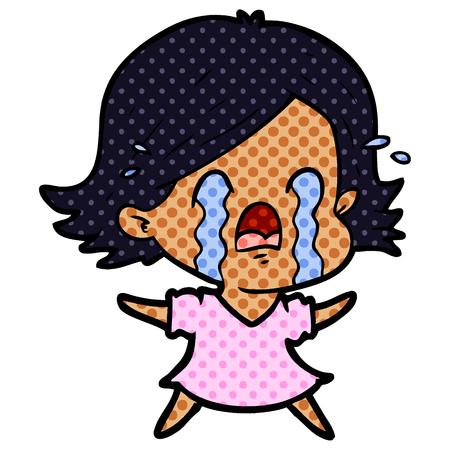 Hand drawn cartoon woman crying Stock Illustratie
