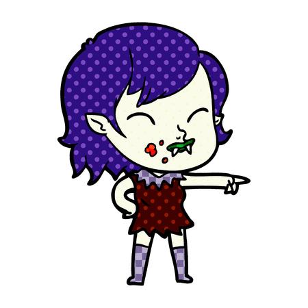 頬に血を持つ手描き漫画吸血鬼の女の子