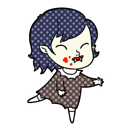 Hand drawn cartoon vampire girl with blood on cheek Stok Fotoğraf - 95550986