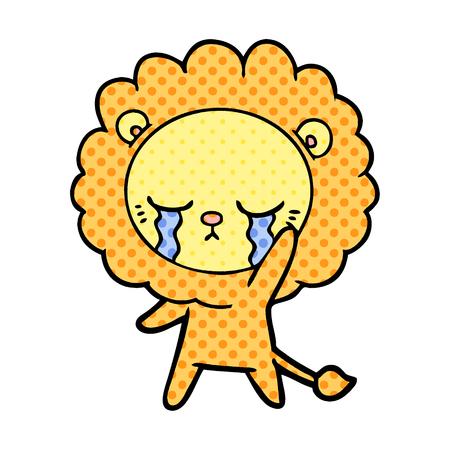 Hand drawn crying cartoon lion Ilustração