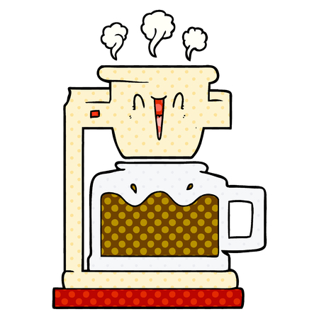 Hand drawn steaming hot coffee pot