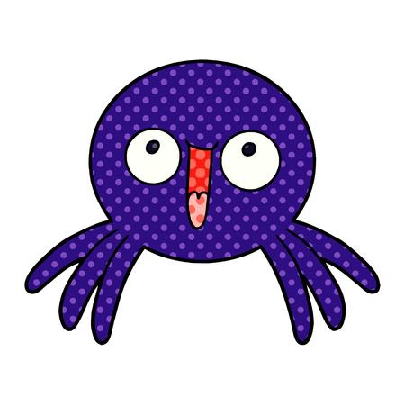 Hand drawn happy cartoon spider