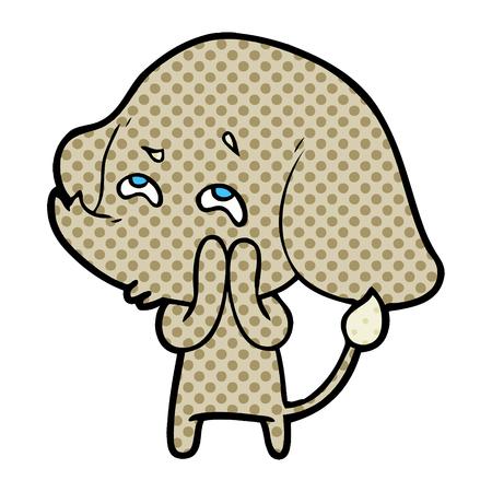 Hand drawn cartoon elephant remembering