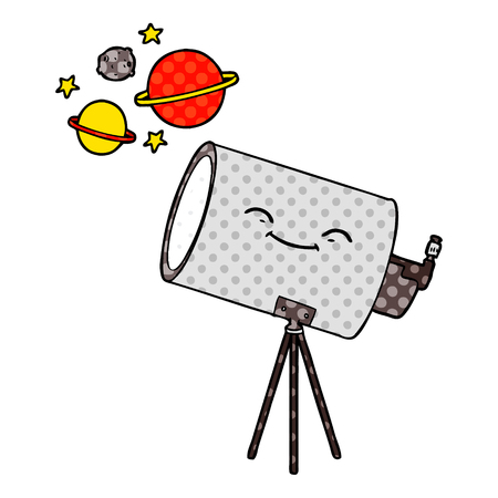 Hand drawn cartoon telescope with face