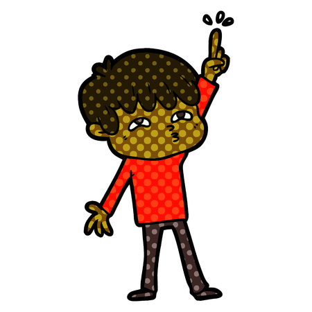 Hand drawn cartoon boy asking question Stock Illustratie