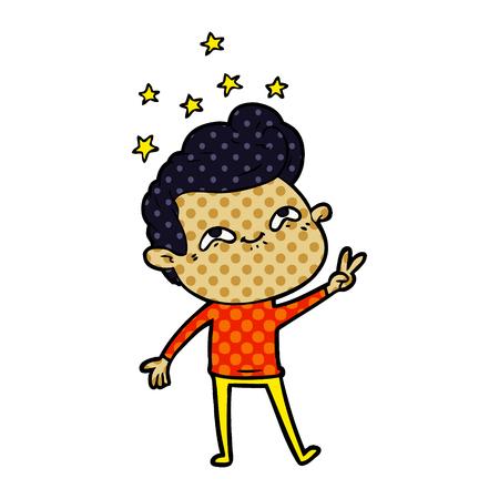 Hand drawn cartoon excited man Ilustração