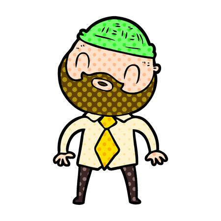 Hand drawn cartoon bearded man Çizim