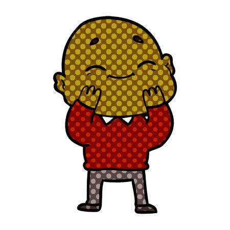 Happy bald man with dots cartoon illustration. Illustration