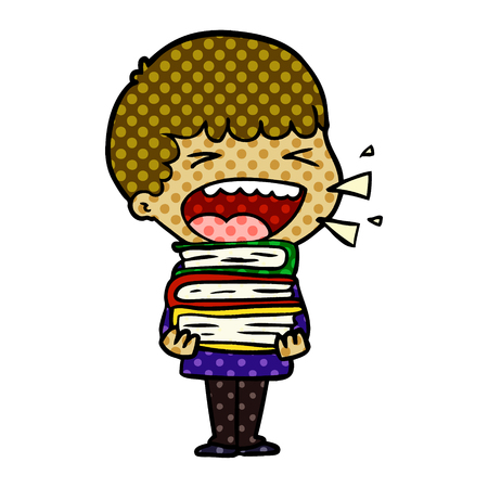 Boy holding books, shouting, with dots cartoon illustration.